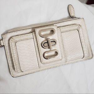 Nine West Off White Embossed Wallet Wristlet